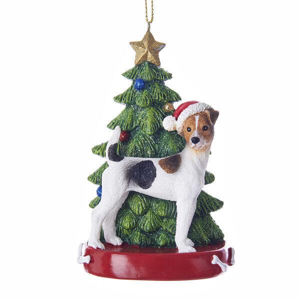 Kurt Adler Bk /& Wh SHIH TZU w//Tree on Base Christmas Ornament-Personalizable