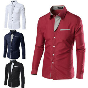 Business-Men-Slim-Fit-Shirts-Long-Sleeve-Formal-Dress-Tee-T-shirt-S-M-L-3XL-Size