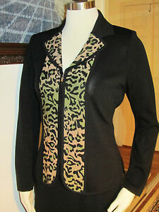 NWT-Exclusively-Misook-Acrylic-Black-Front-Zipper-Animal-trim-Jacket-PXS-420