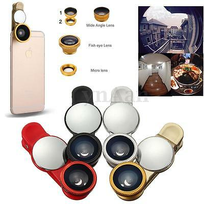 3in1 Universal Fish eye Wide Angle Micro Zoom Camera Lens kit for Phone Tablet