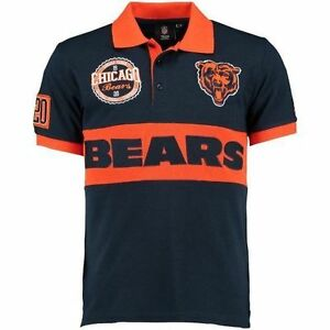 best loved 13225 3a40c Details about Klew NFL Chicago Bears Rugby Polo Short Sleeve Shirt Men's New