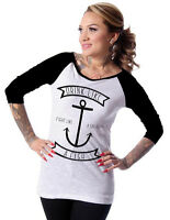 Steady Clothing White Black Like A Fish Anchor Womens Raglan T Shirt