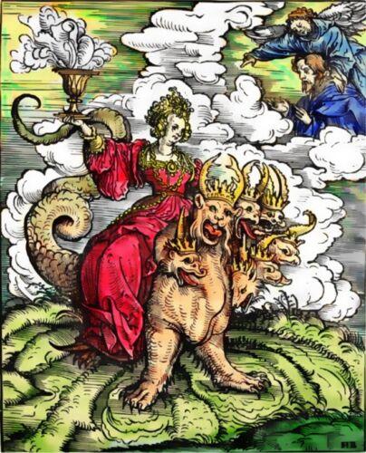 The Whore of Babylon 1523 7 Headed Beast St John /& Angel Occult 6x5 Inch Print