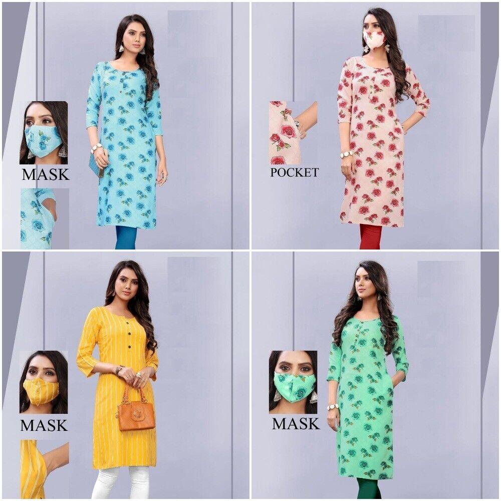 Floral Print Indian Kurti Top With Matching Mask & Side Pocket Pakistani Tunic