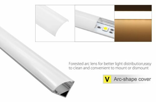 5PACK 3.3ft Aluminum V Channel for flex//hard LED Strip Light Arc-Shape Cover-V02