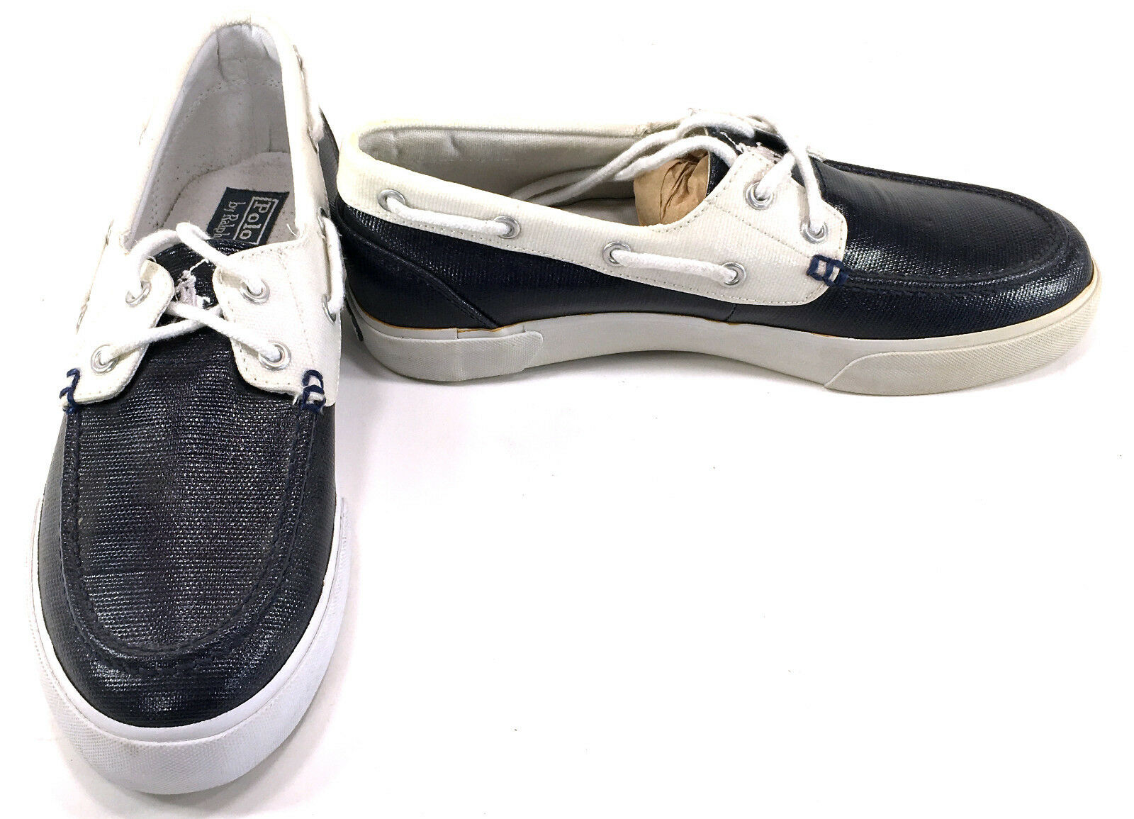 Polo Ralph Lauren Boat shoes Lander Coated Canvas Black Cream Topsiders Size 8