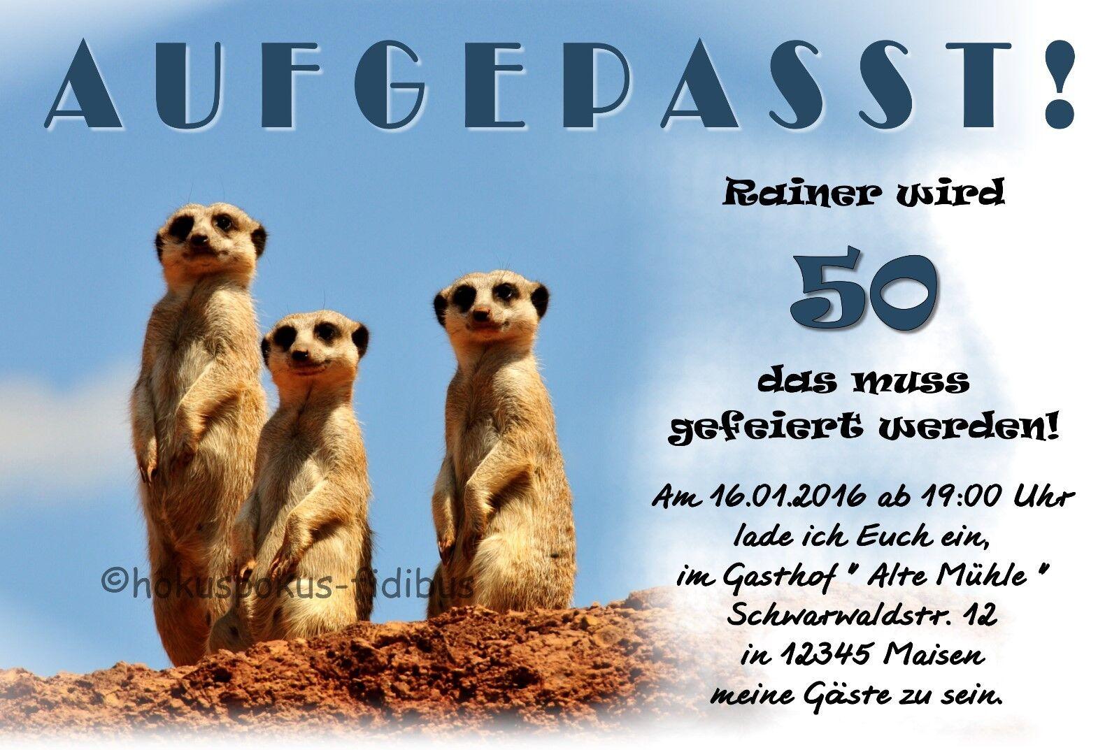 50 lustige Einladungskarten Geburtstag JEDES ALTER 18 30 40 50 60 AUFGEPASST