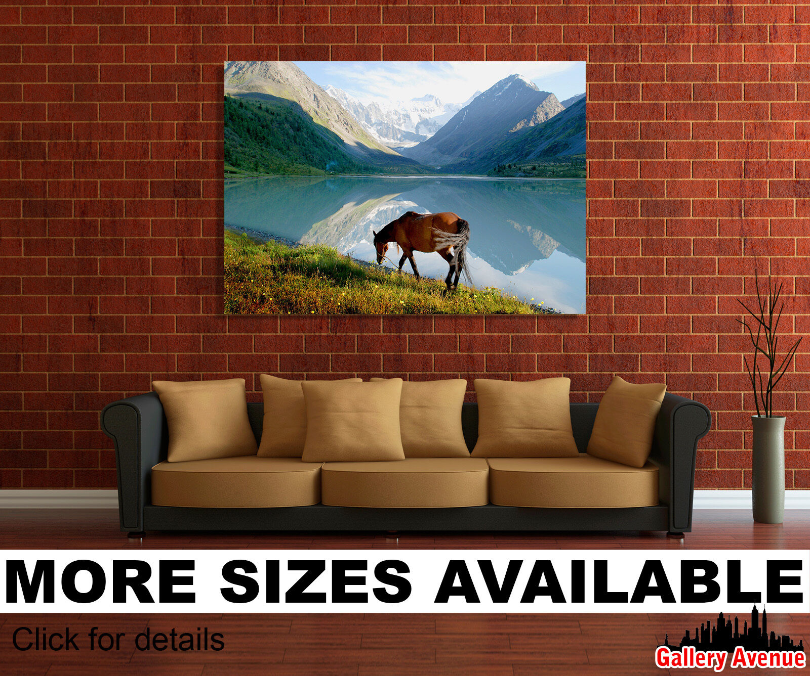 Wall Art Canvas Picture Print - Horse Grazing, Mountains, Lake, Landscape 3.2