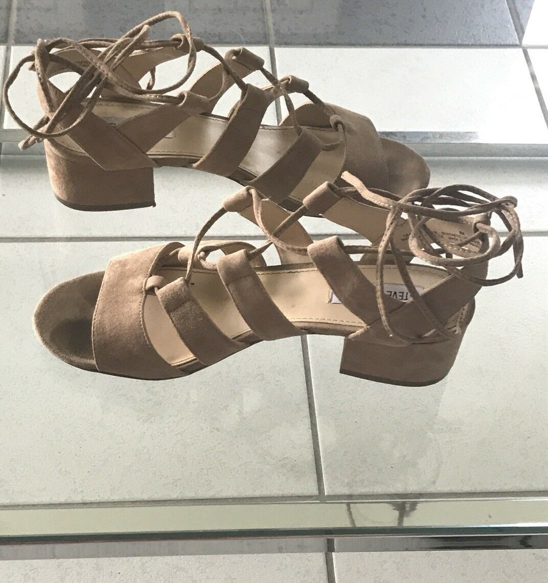 Kitty Steve Madden Suede Lace Up Sandales Beige 8 Größe 8 Beige Chunky Stacked Heel 137894