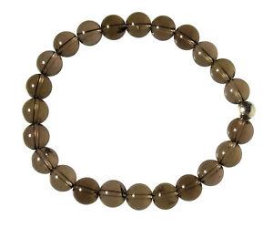 RAUCHQUARZ-Edelstein-Armband-Stretch-Perlenarmband-D565