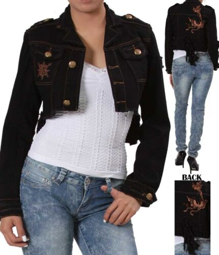 Black Fishtail Butterfly Embroidered Back Cropped Bolero//Shrug//Cover Jacket
