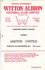 WITTON ALBION V ASHTON UTD CHESHIRE COUNTY LGE 271277 - <span itemprop=availableAtOrFrom>London, United Kingdom</span> - Returns accepted Most purchases from business sellers are protected by the Consumer Contract Regulations 2013 which give you the right to cancel the purchase within 14 days after the day y - London, United Kingdom