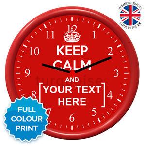 personnalise-keep-calm-and-de-transport-rouge-rond-Photo-Horloge-murale-19cm