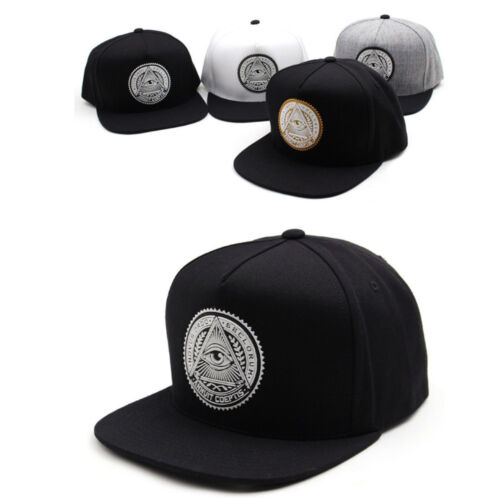 Unisex Mens Premier Illuminati Eye Baseball Cap Snapback Hiphop Hats White