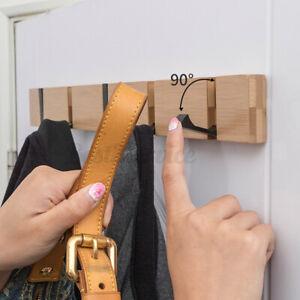 WOOD 4 HOOKS WALL HOOK FOR HANGING CLOTHES HANGER COAT STORAGE RACK HOME DECOR