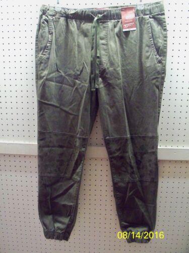 ARIZONA Men's 36 Dark Olive w// Camo Print Trim Chino Jogger Pants FREE Shpg NWTA