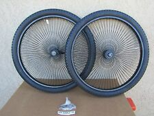 BICYCLE 26''-140 SPOKES BLACK RIM SET WITH TIRES, TUBES  FOR CRUISER, CHOPPER