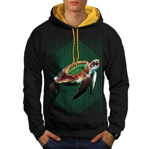 Turtle Contrast Men Black Hoodie Hood Progammer Sea gold New Zqxwv6d