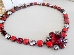 Swarovski Necklace Anna Wintour Multicolor Red Oval Crystals Cupchain Choker