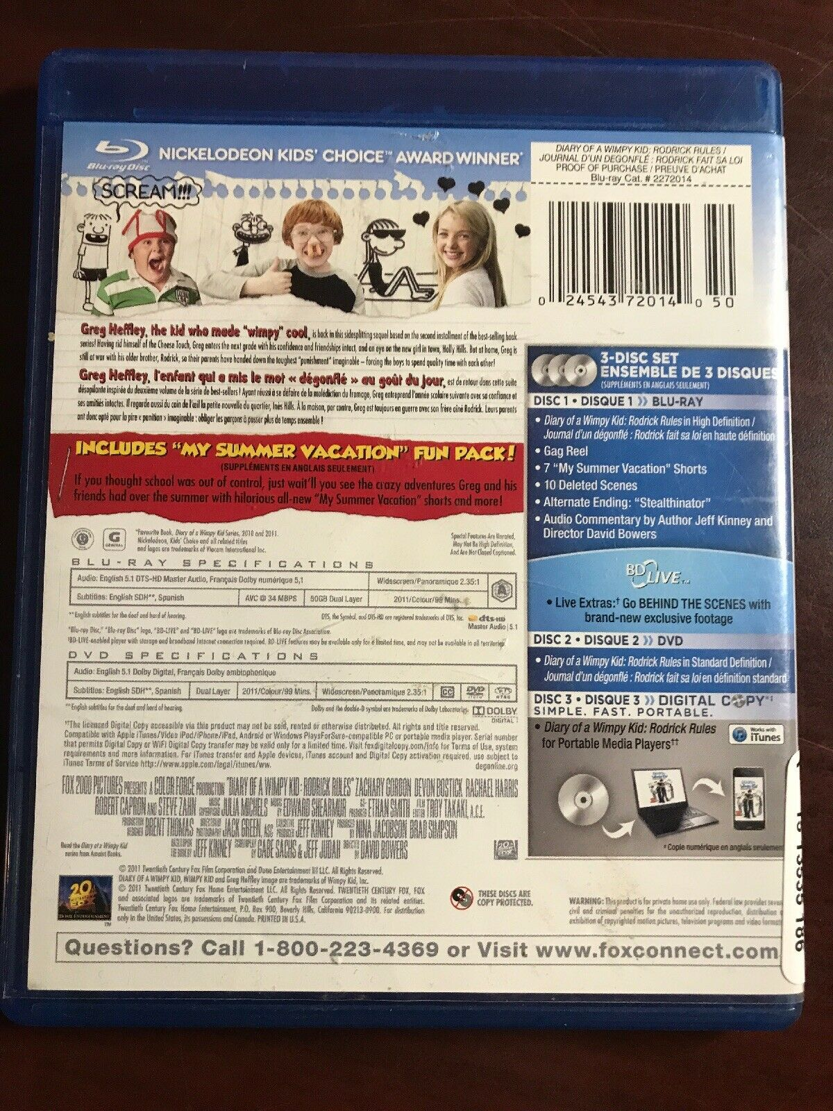 Diary Of A Wimpy Kid Rodrick Rules Blu Ray Disc 2011 Canadian French For Sale Online Ebay