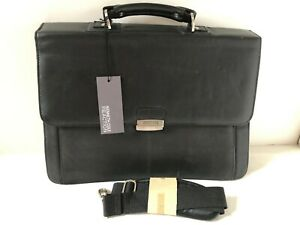 KENNETH-COLE-Reaction-Flap-py-Gilmore-Black-Leather-Briefcase-NEW-NWT