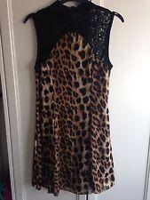 Ruby Rocks BOUTIQUE leopardato e pizzo NERO dress size 8
