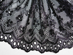 "5 METRES Pale Gold Satin Embroidered Tulle Lace Trim 5.5/""//14cm TOP SELLER"