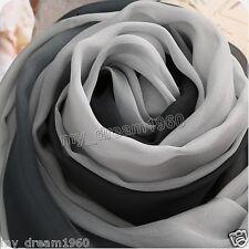 Genuine Women's Fashion Long Soft Gradient Black White Chiffon Scarf Wrap Neck