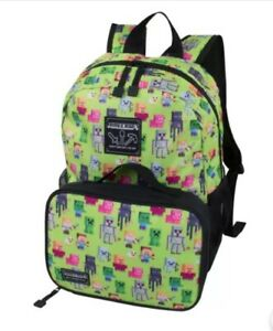 """New Minecraft 16/"""" Sprites Kids 2 Piece Backpack Insulated Lunch Kit Combo"""