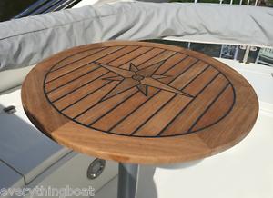 Teak Table - Nautic Star  ROUND  - FOUR Sizes - Motorboat   Yacht   Motorhome