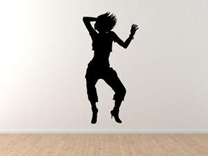 dancer silhouette 3 jumping girl club dance crew hip hop vinyl