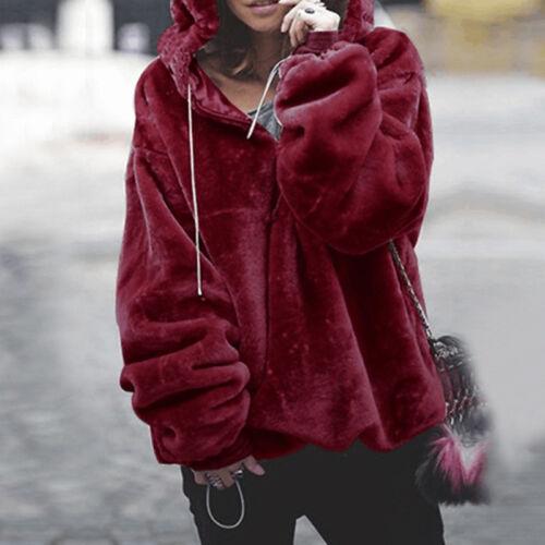 Damen Fluffy Winter Warme Jacke Wintermantel Kapuze Pullover Pulli Sweatshirt DE