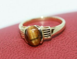 Vintage-1-86-CT-Oval-Tiger-039-s-Eye-9K-CT-375-Women-039-s-Classic-Heirloom-Ring-Sz-7