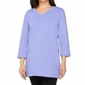 Denim-amp-Co-Essentials-Size-2X-Lilac-Perfect-Jersey-3-4-Sleeve-V-Neck-Tunic