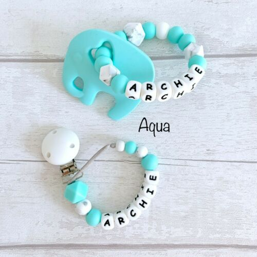 Personalised Baby Gift Set Dummy Clip Teether Ring Teething Toy Baby Stocking