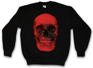 Classic Pullover Banner Albanien Flag Sweatshirt Skull Sweater Albania Biker wraFvOxnwq