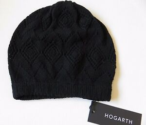 Image is loading Hogarth-ladies-cashmere-beanie-hat-black-pointelle-lacy- 511e30490c