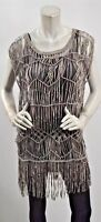 Nigel Preston & Knight Boho Hippie Suede Leather Beaded Fringe Tunic Top L