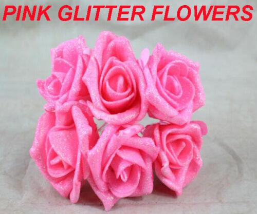 6cm GLITTER FOAM ROSES WITH STEMS Artificial glitter Flowers wedding decor UK