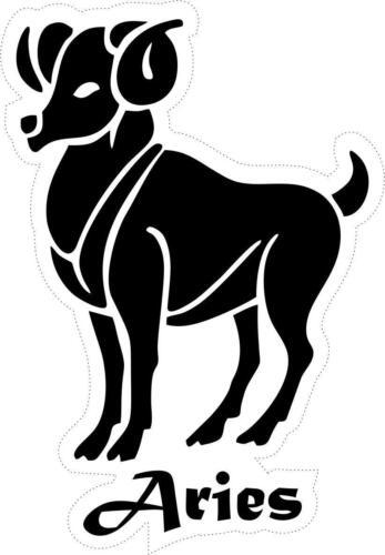 Autocollant sticker signe zodiaque astrologie aries belier noir blanc horoscope