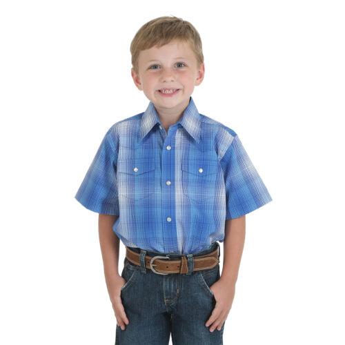 WRANGLER Boys WESTERN Shirt 100/% Cotton Short Sleeve Blue Stripe XL BWR317M