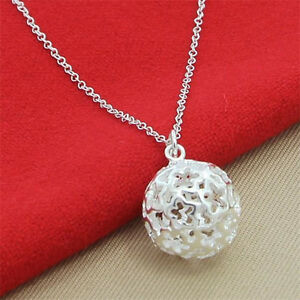 Hot-Classic-big-Ball-pendant-Chain-925Silver-Necklace-Gift-Jewelry-Free-P-amp-P