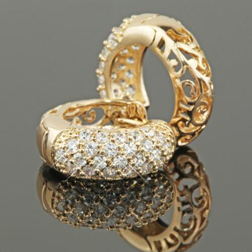 Ohrringe Creolen 16 mm Zirkonia 999 Gold 24 Karat vergoldet O1457L