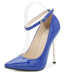 Women-Stiletto-Ankle-Strappy-Pumps-Pointed-Toe-High-Heels-Nightclub-Court-Shoes