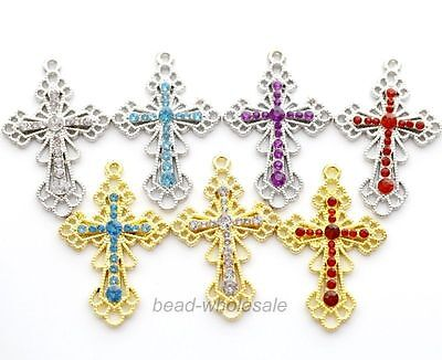 5Pcs New Silver/Gold Cross Tone Rhinestone Crystal Paved Metal Pendants For DIY