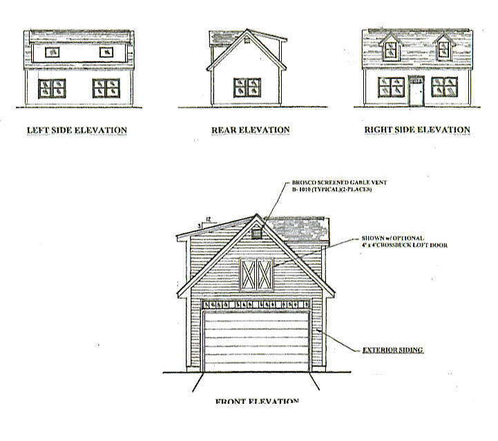 16x24 1 Car Garage   Garden Potting Shed Building Blauprint Plans w  Open Attic