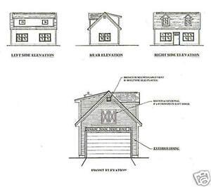 16x24 1 car garage garden potting shed building blueprint plans w