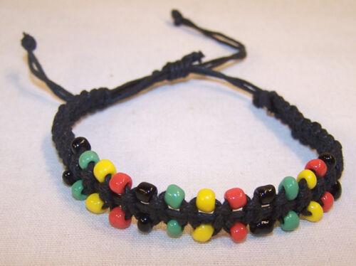 2 BEADED RASTA BRACELETS hippie jewlery new jamaican beads rastafarian bracelet