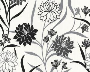 Blumen Vlies Tapete A S Creation 2249 10 Schwarz Weiss Ebay