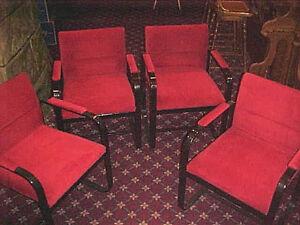 Image Is Loading Vintage Art Deco 4 Raspberry Red Velvet Chairs